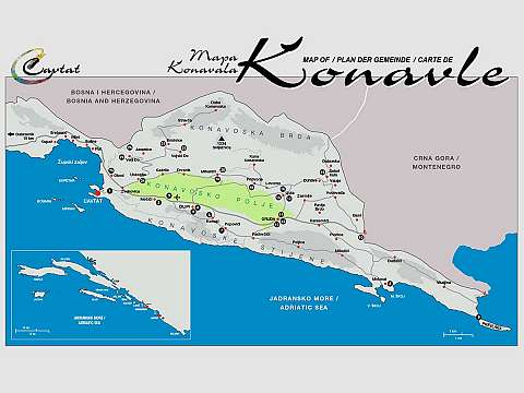 Cavtat & Konavle Tourist Map